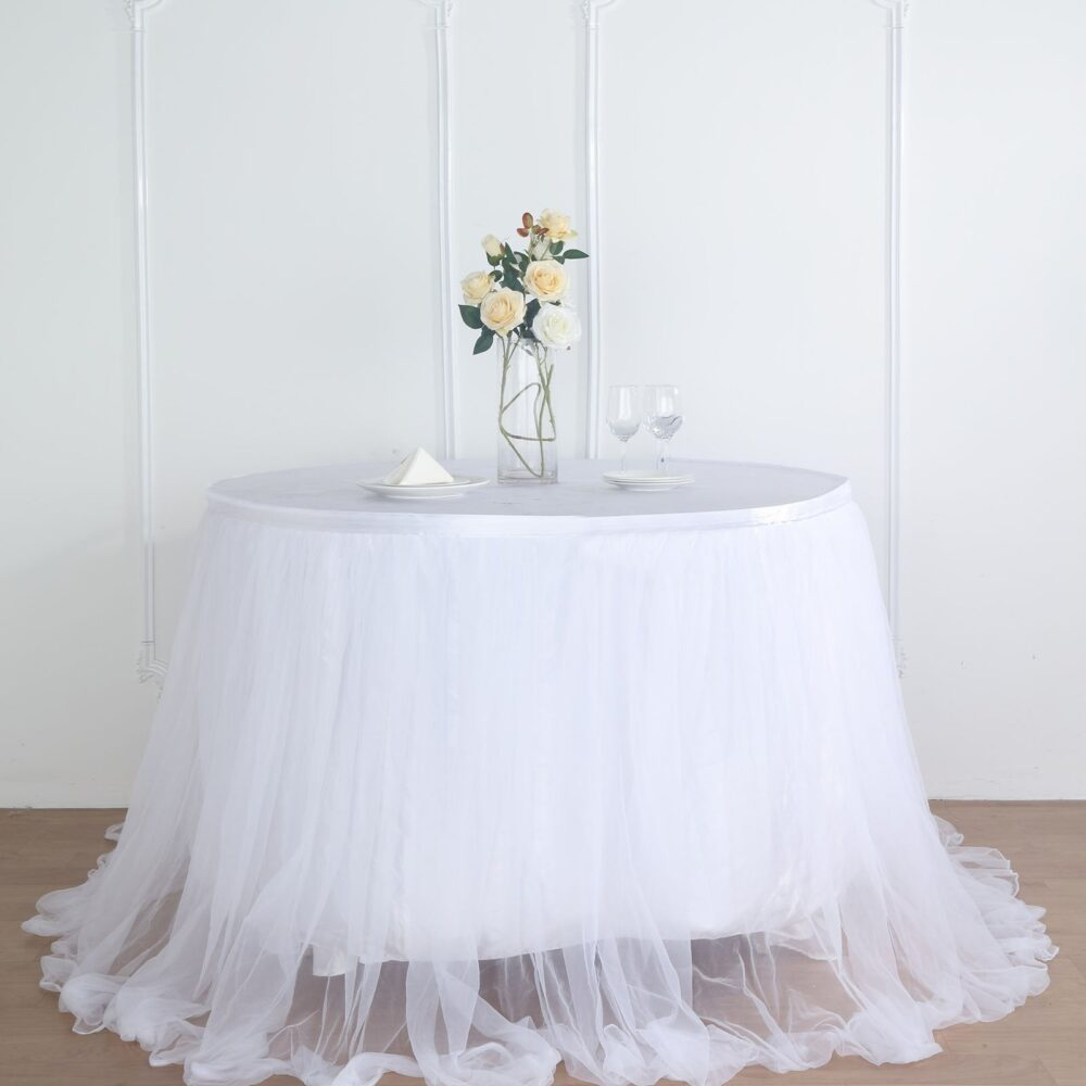 "14 Ft White Tulle Tutu Table Skirt, 48"" Two Layered Extra Long Floating Satin &"