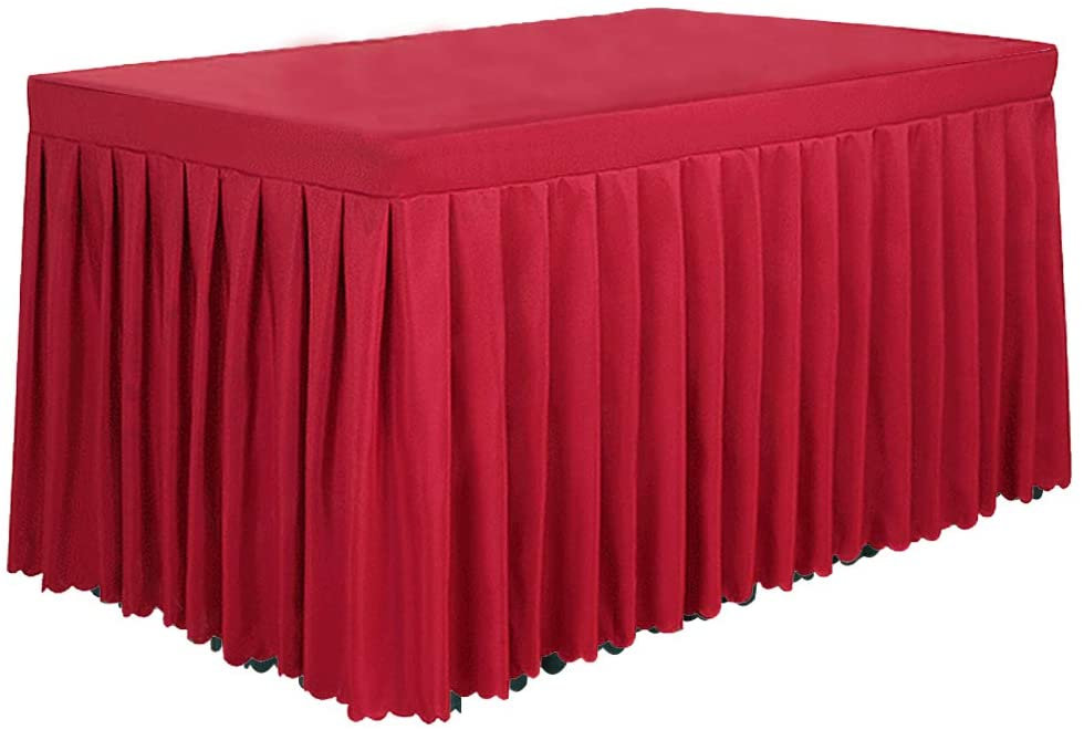 6' Ft Polyester Fitted Tablecloth Table Skirt For Wedding Banquet Trade Show Black