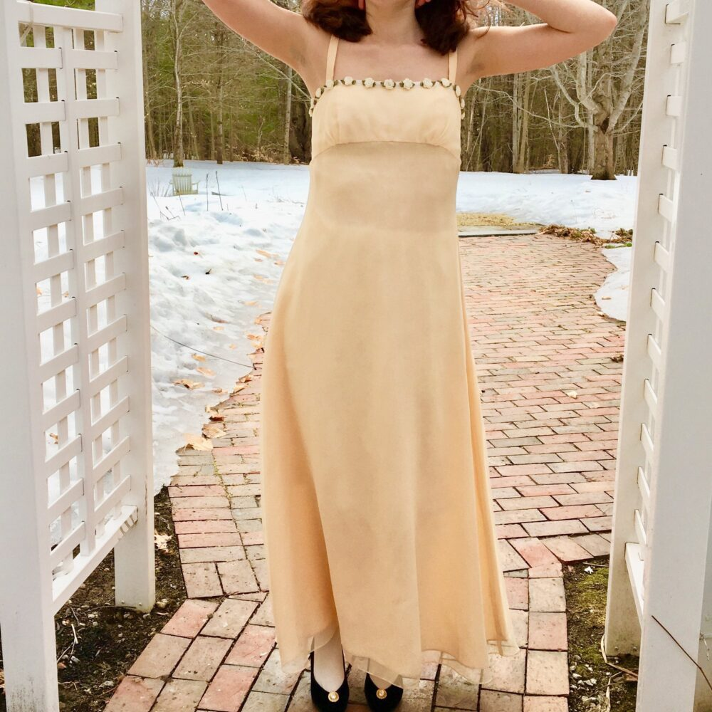 Vintage Bari-Jay Champagne Bridesmaid's Dress, Women's Small, Maxi Formal Prom Dress
