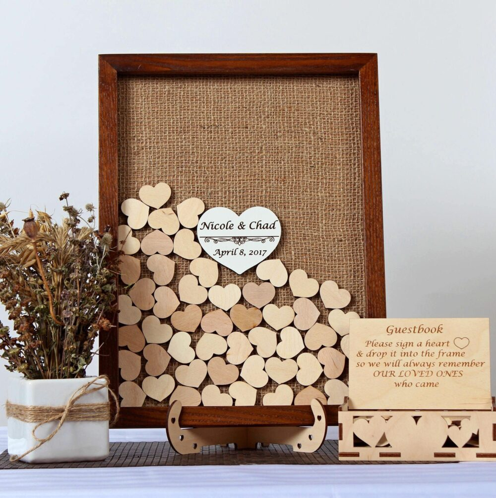 Rustic Wedding Guest Book Alternative Drop Box Wooden Sign Guest