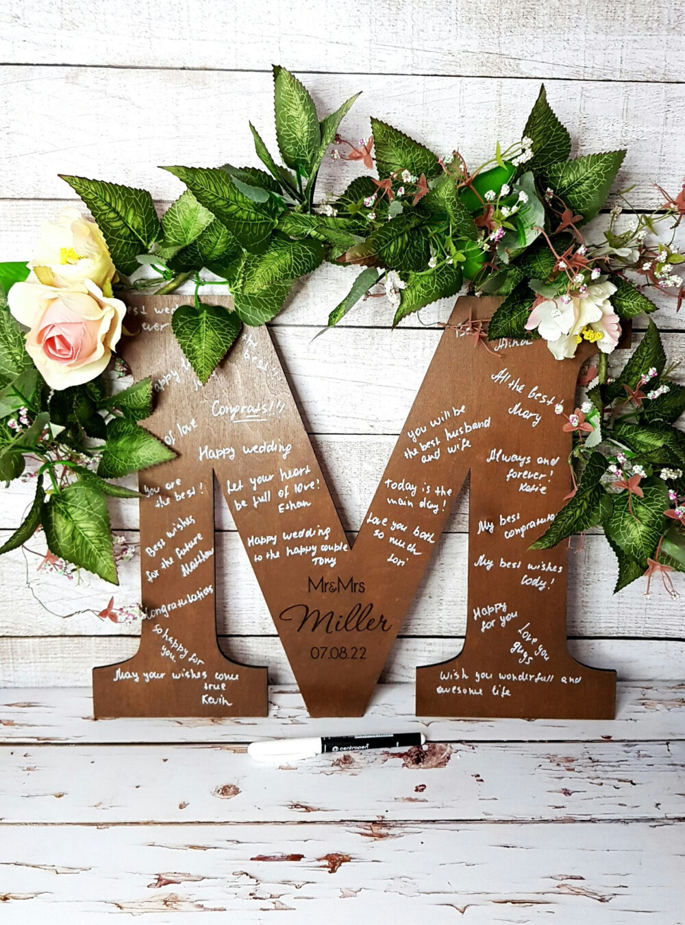 Alternative Guest Book Letter Wedding Wooden Sign Personalized Rustic Well Wishes