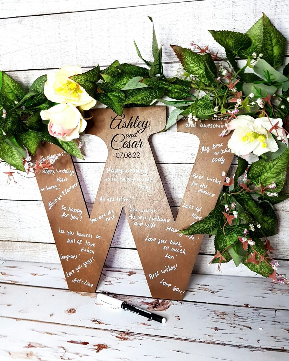 Alternative Guest Book Canvas Letter Guestbook Wedding Wood Sign Custom Rustic Unique