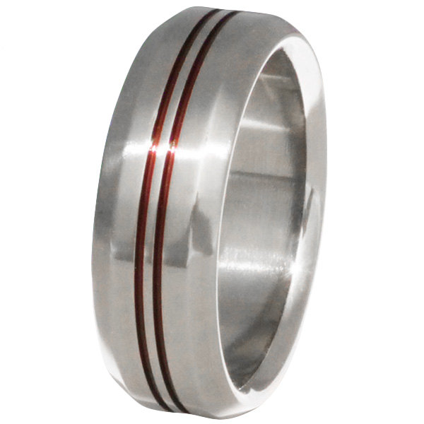 Thin Red Line Titanium Band - Firefighter's Ring Two Lines- R26
