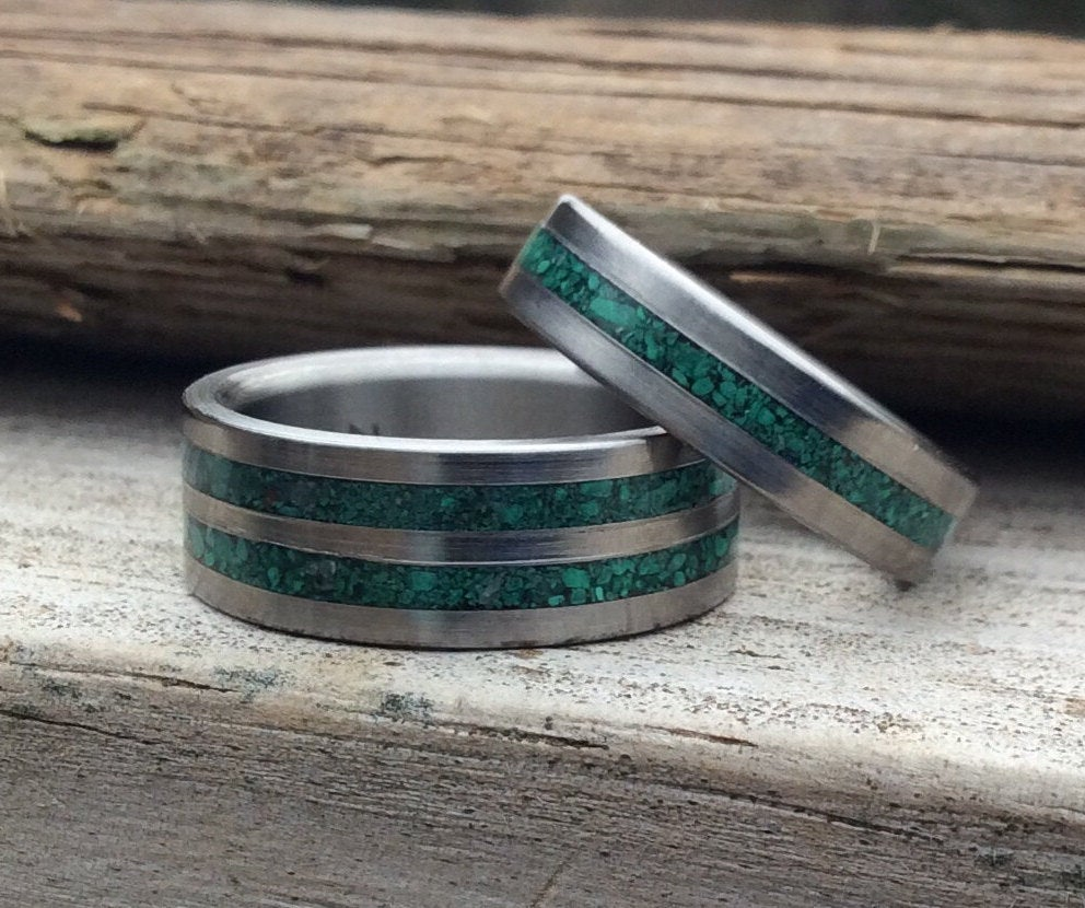 Titanium Rings, Wedding Malachite Band Set, His & Hers Personalized Matching Ring Engagement