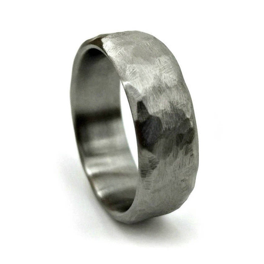 Cold Hammered Titanium, Wedding Ring, Band, Titanium Handmade Jewelry, Unique Modern Ring Design