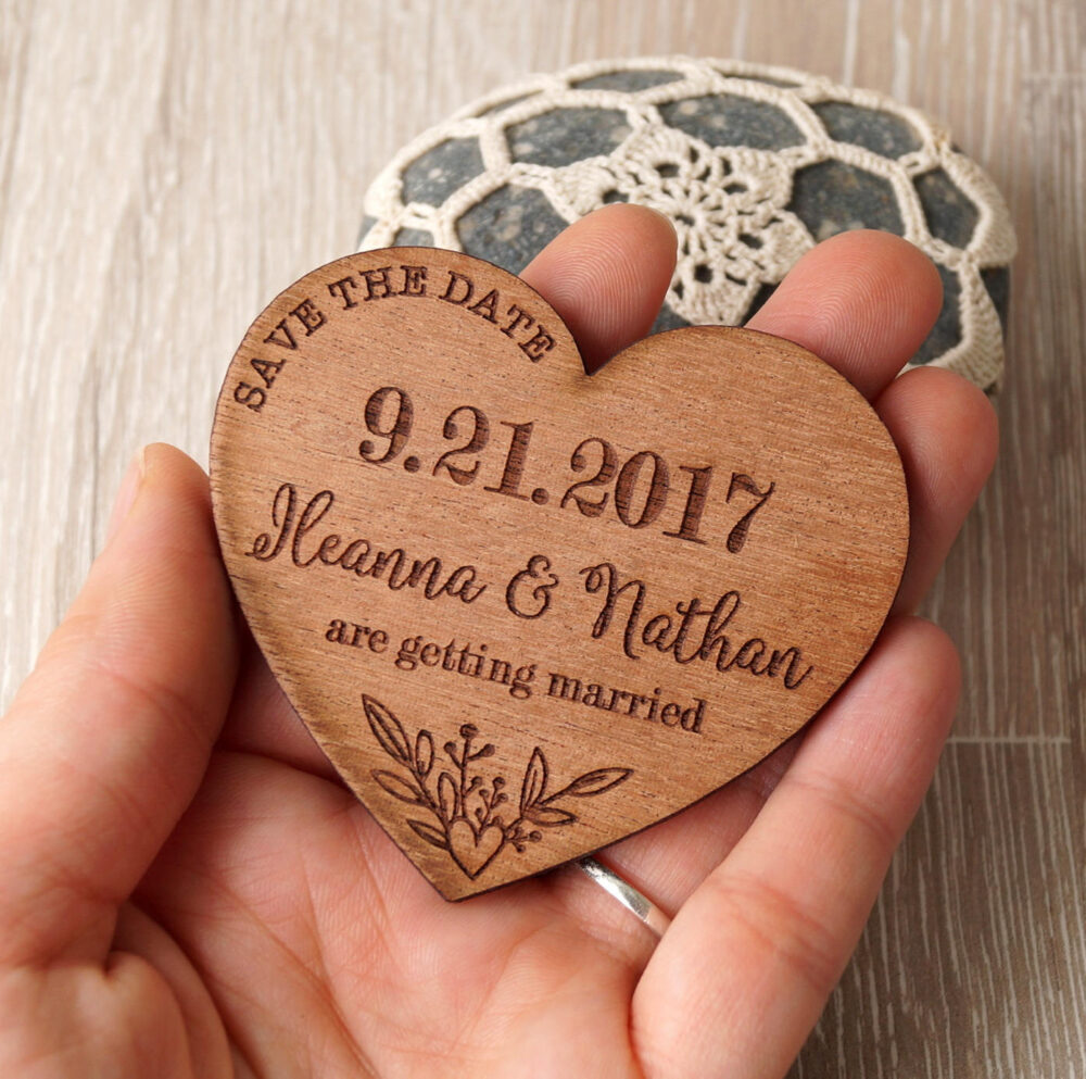 Save The Dates, Wedding Save Date Magnet, Hearts Date, Wooden Magnets, Rustic Set Of 25