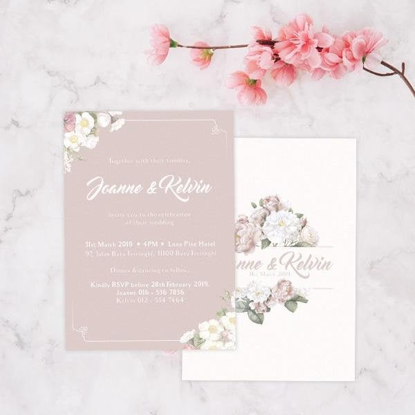 Botanical Romance Invitation Card, Pastel Pink Floral Invites, Spring Invitation, Floral Invoitation Card, Flower Wedding Invites, Garden Invite