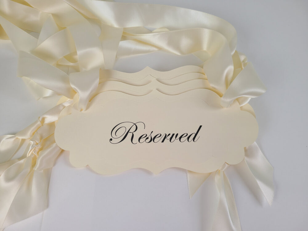 Wedding Reserved Pew Signs, Chair Cream Guest & Family Seating Signs Are Ready To Ship