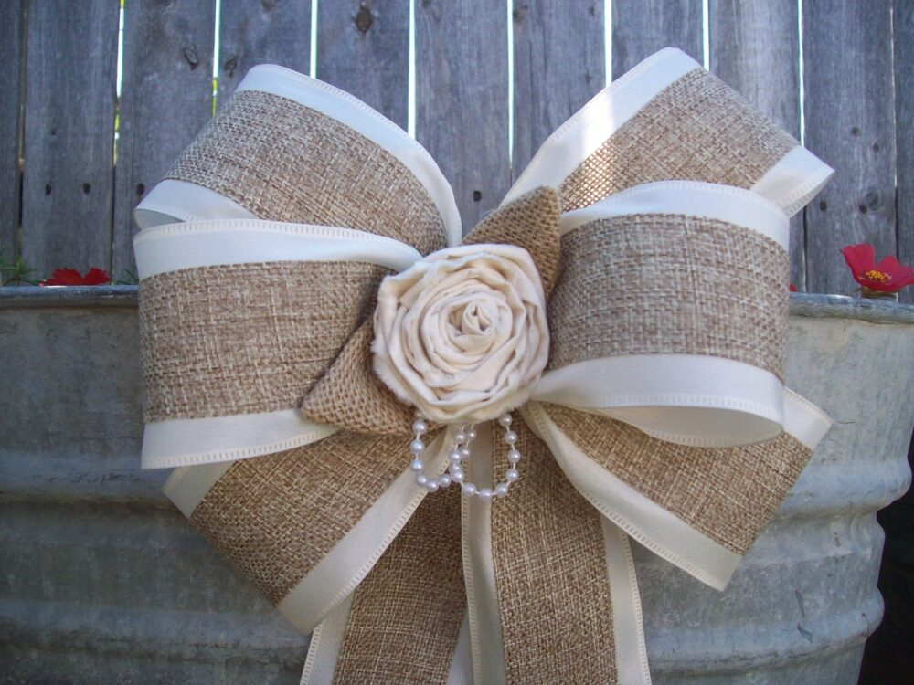 Burlap & Satin Bows, Wedding, Aisle Decor, Rustic Country Chic, Cottage Chic Pew Bows