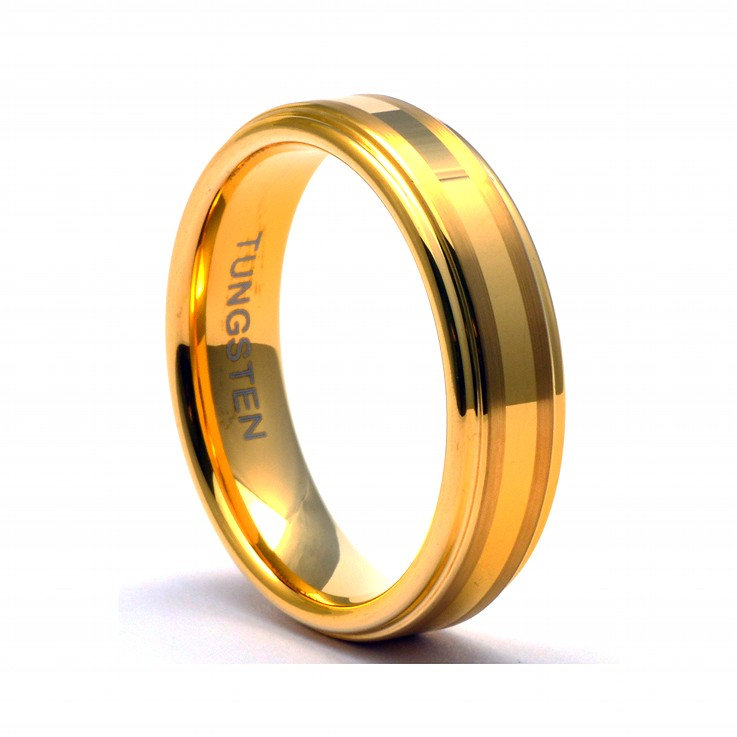 Tungsten Wedding Band Women 6mm, Gold Ring Band, Ring, Women Tungsten Ring, Tungsten, Women's