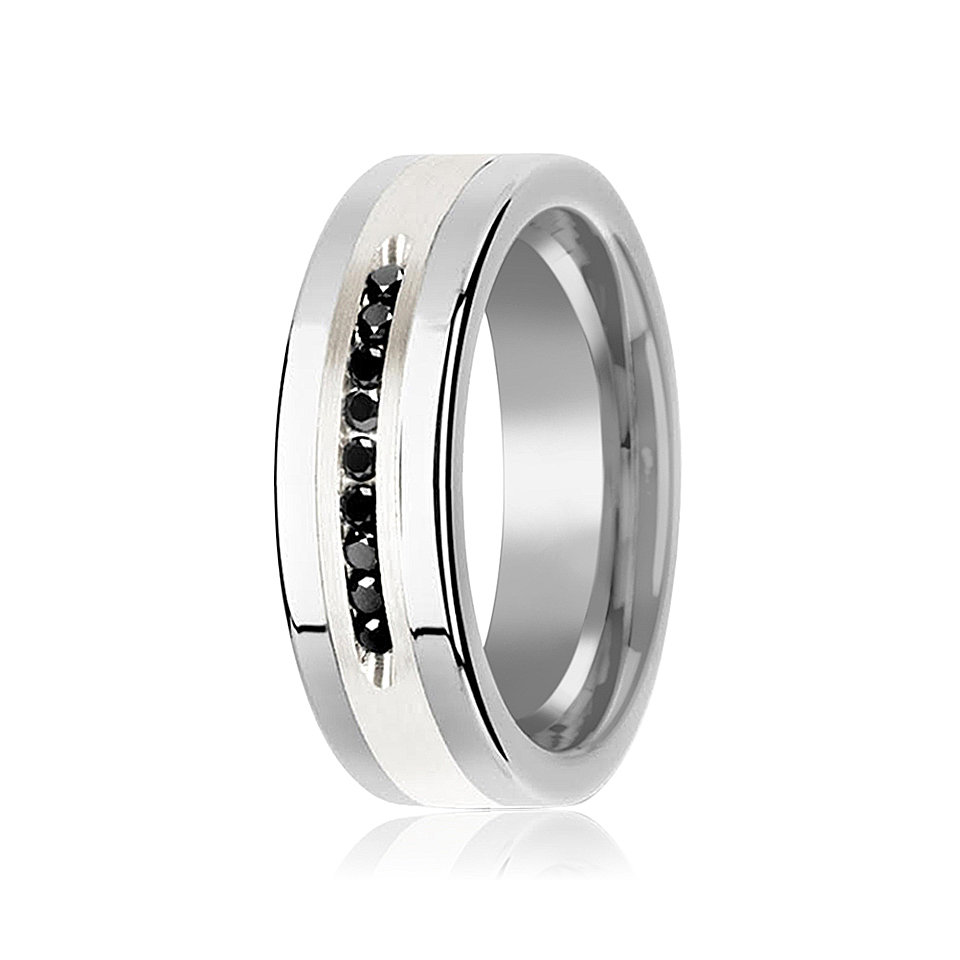 Black Diamond Wedding Band Tungsten Ring Silver Inlay Center 9 Channel Set Diamonds