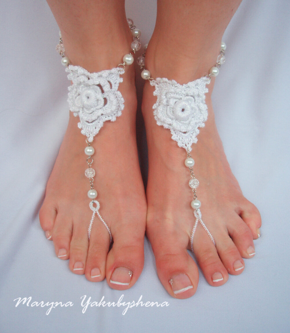 Footless Sandals Wedding Crochet Barefoot White Beach Shoes Hippie Foot Boho Jewerly Bridesmaid Gift