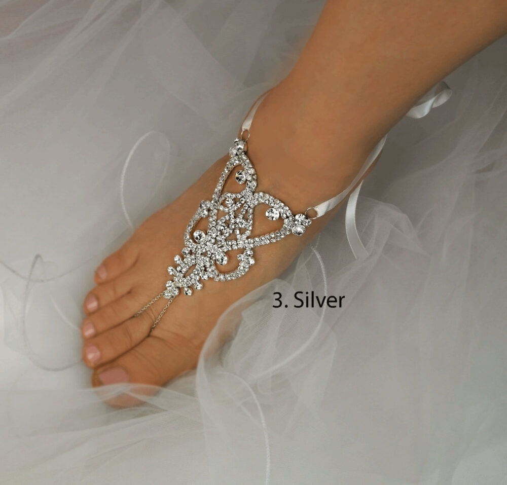 Wedding Barefoot Sandals, Rhinestone Foot Jewelry, Silver Jewelry, Beach Footless Sandals, Garden Wedding Shoes -Sd021