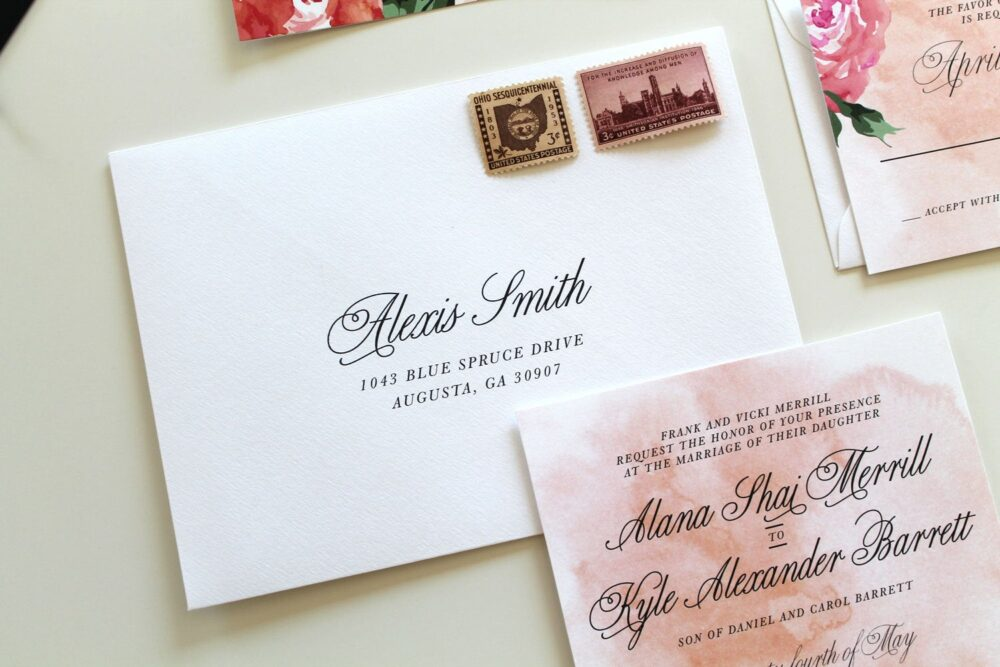 Script Wedding Envelope Printing | Printing, Custom Addressing, Printable Envelope, Addressing