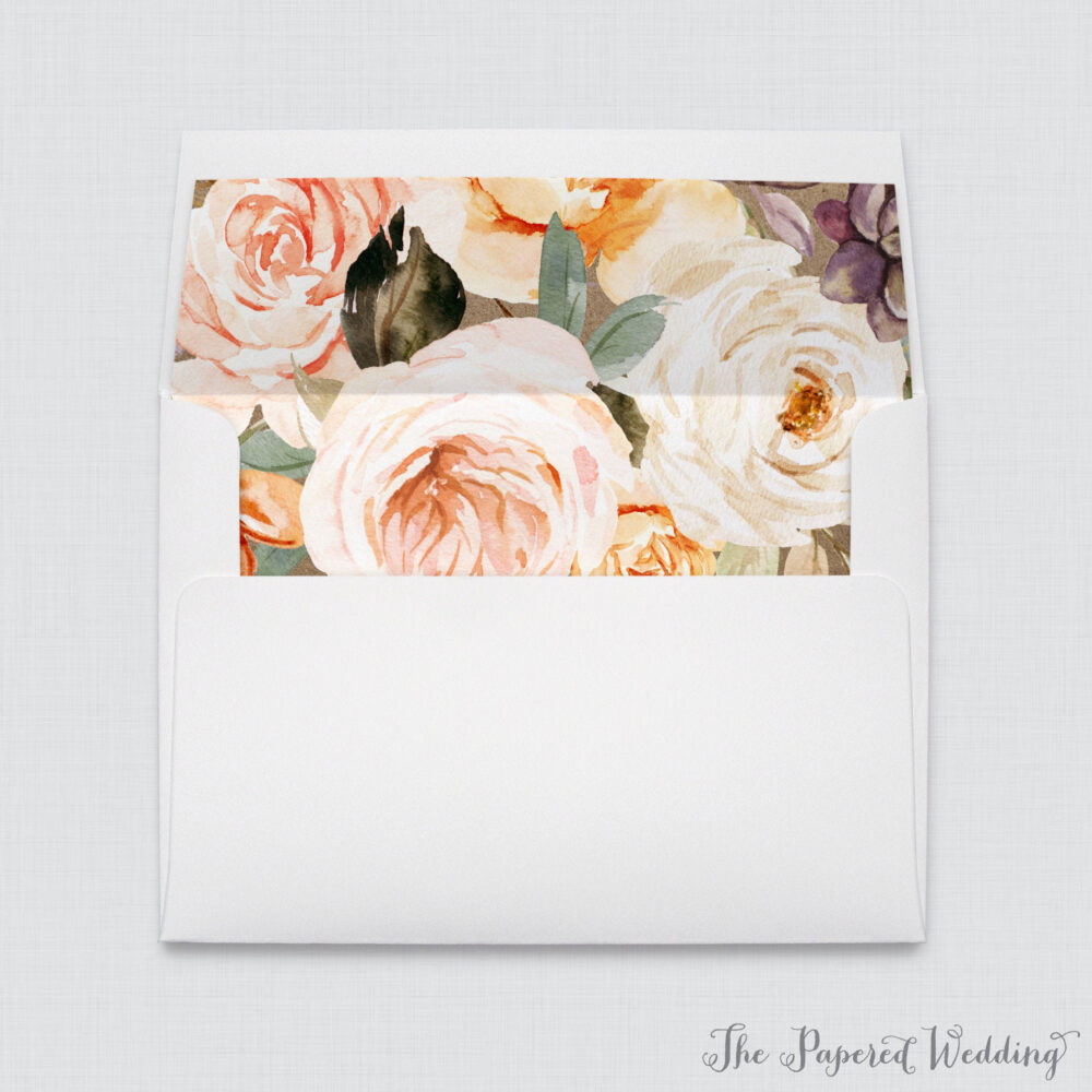 Rustic Autumn Flower Wedding Envelope Liners - White A7 Envelopes With Orange, Pink, Cream Floral & Kraft Background 0028