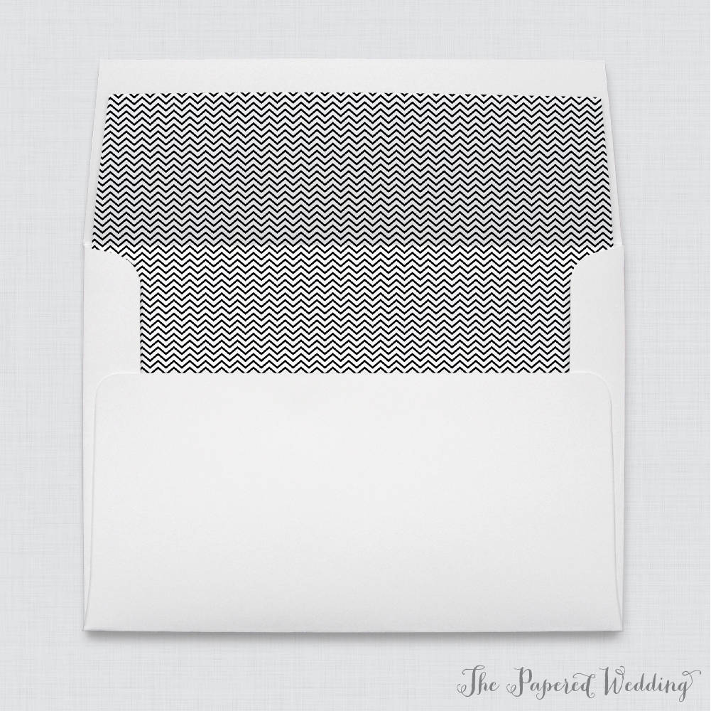 Chevron Wedding Envelopes With Liners - White A7 Black & Envelope Liners, Patterned 0005