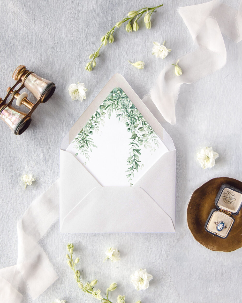 Greenery Wedding Envelopes, Watercolor Envelopes With Liner, Invitation Lined A7