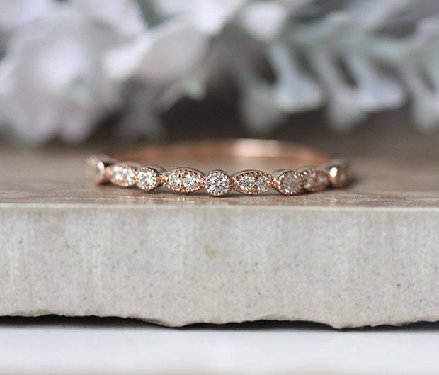 Diamond Wedding Band, Half Eternity Real 10K Rose Gold Milgrain Ring, Promise Engagement Ring