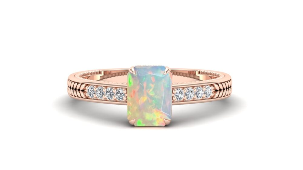 1.10 Cts. Natural Emerald Cut Opal Engagement Ring, Vintage Art Deco Floral Leaf Wedding Moissanite Rose Gold Vermeil Ring Gift