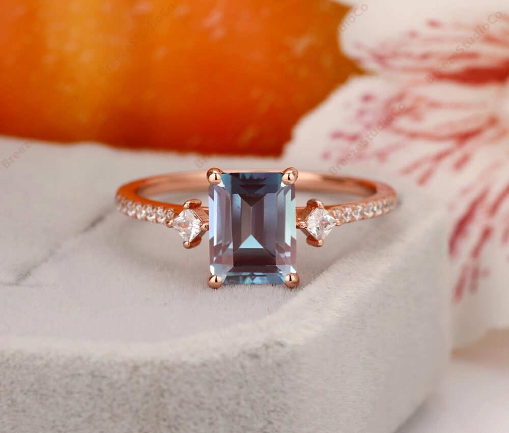 Alexandrite Ring, Engagement Emerald Cut 6x8mm Wedding 14K Rose Gold Gemstone Ring