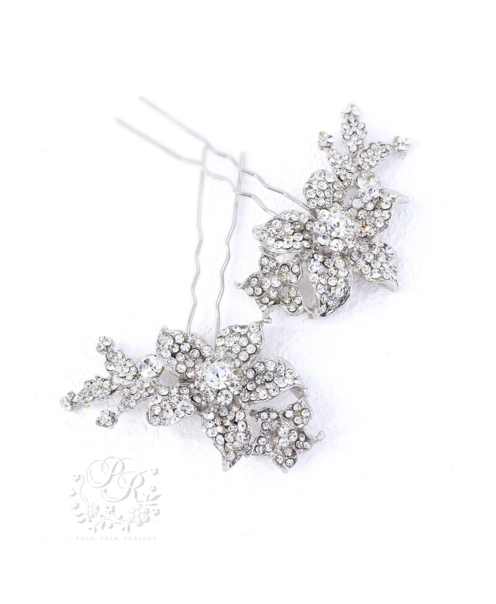Set Of 2 Wedding Hair Comb Rhinestone Bridal Hair Pin Accessory Jewelry Accessory Bridesmaid Lily
