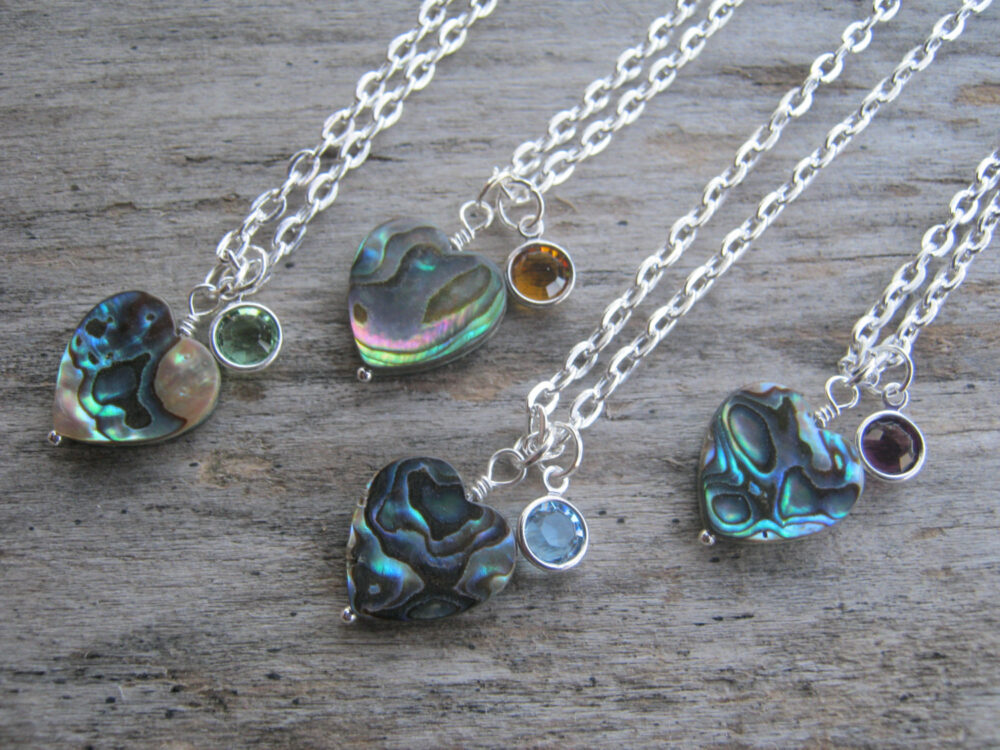 Abalone Heart Necklace, Personalized Shell Valentines Day, Bridesmaid Jewelry, Beach Choose Length, Silver Or Sterling
