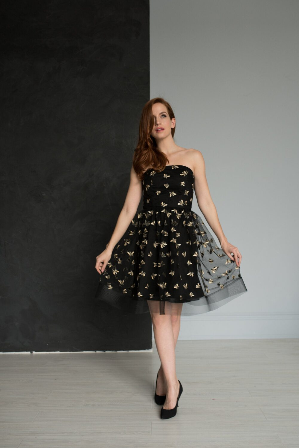Embroidered Bee Cocktail Dress, Black Mini Garden Party Tulle Skirt, Strapless Little Queen