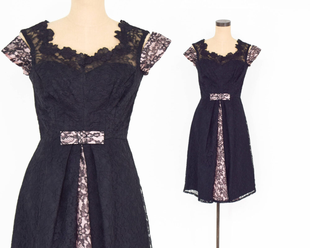 1960S Black Lace Cocktail Dress | 60S & Pink Party Midcentury Medium