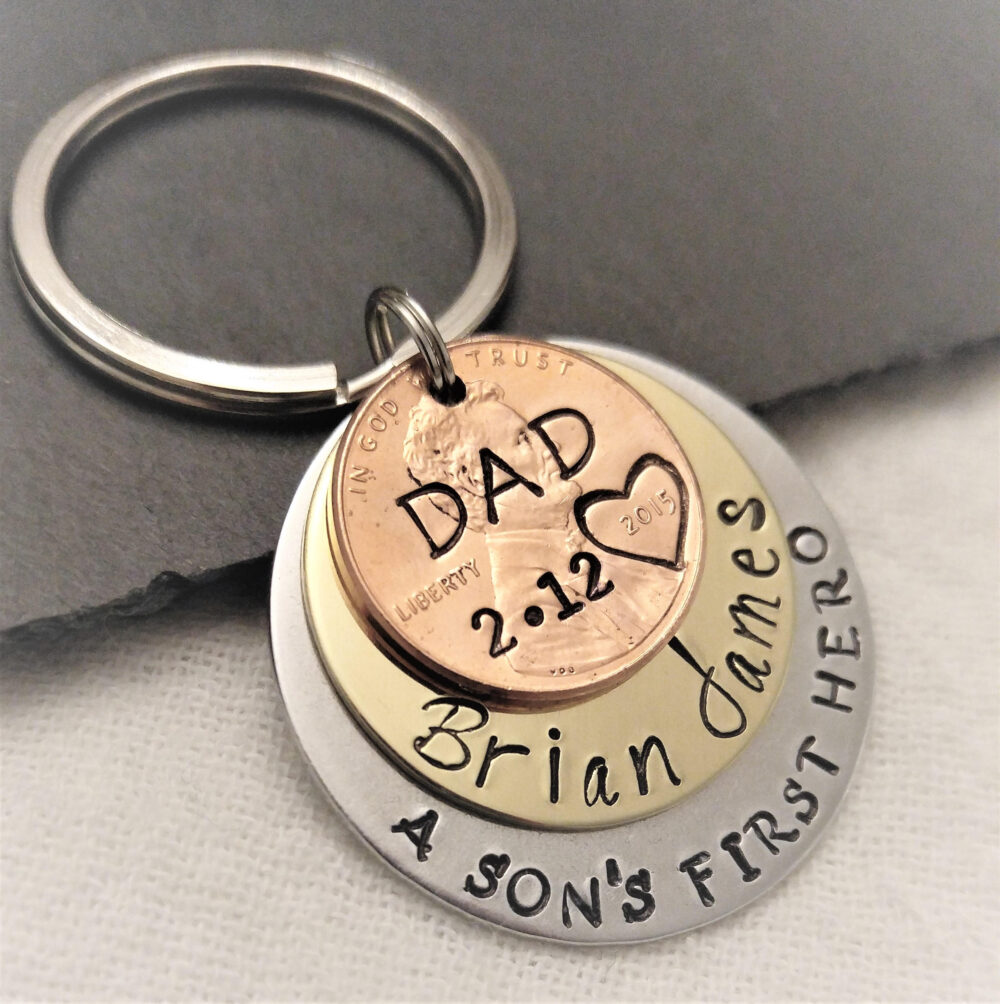 Personalized Dad Key Chain, A Son's First Hero Gift, Gift For Dad, Dad Keychain, Father's Day Gift, Penny Gift Him