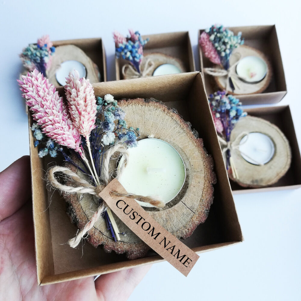 Floral Candle Favors For Wedding Guests & Bridesmaid Proposal Box Bridal Shower Gift Tealight Holder Custom Rustic Thank You Favor in Bulk