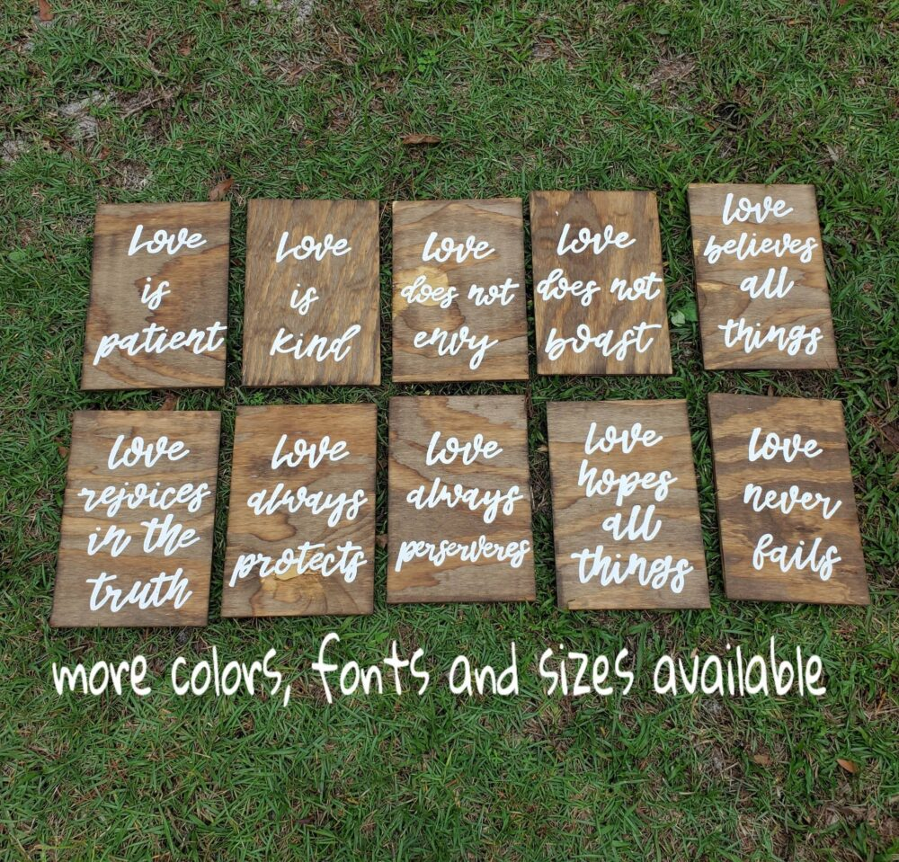 Set Of 10 Wedding Aisle Signs, 1 Corinthians 13 Love Is Patient, Kind, Hand Painted Wood Signage, Signs
