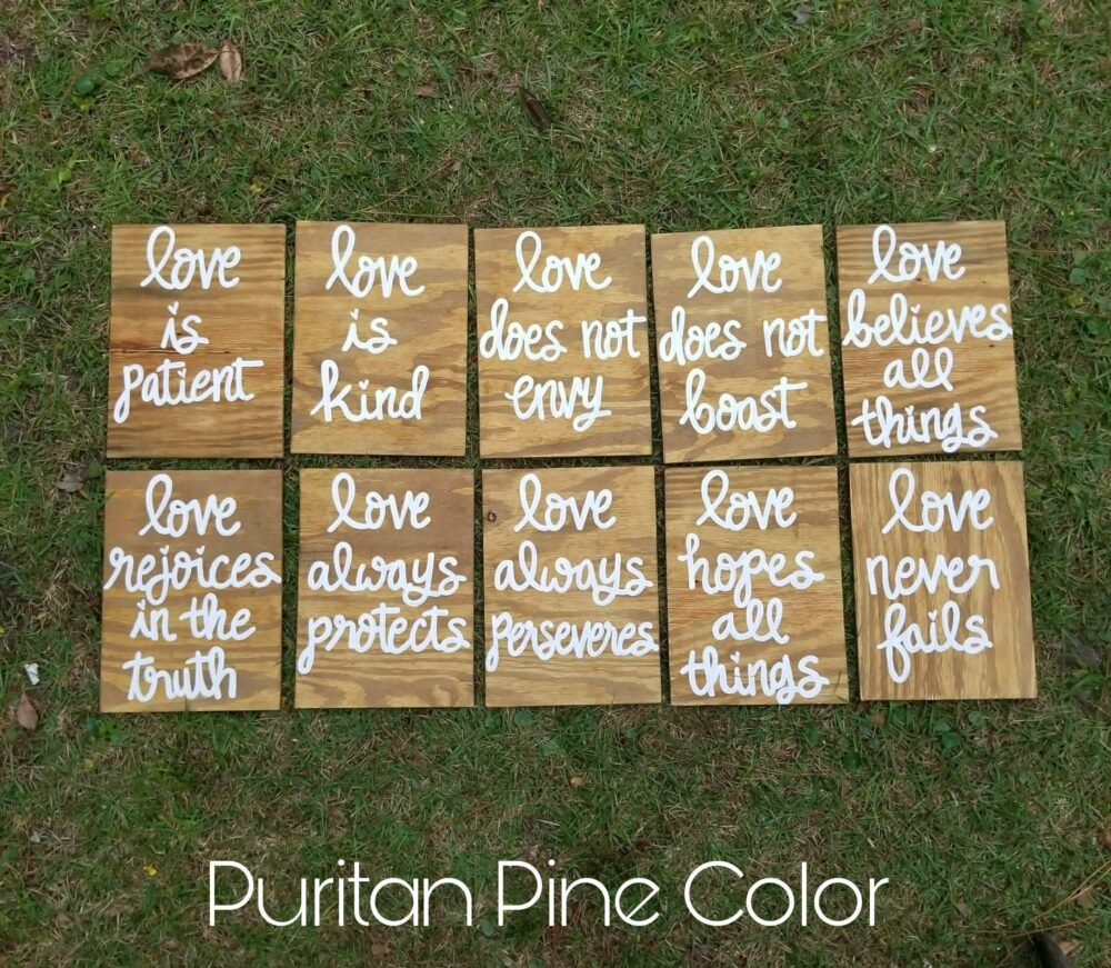 Set Of 10 Wedding Aisle Signs, 1 Corinthians 13 Love Is Patient, Kind, Hand Painted Wood Signage