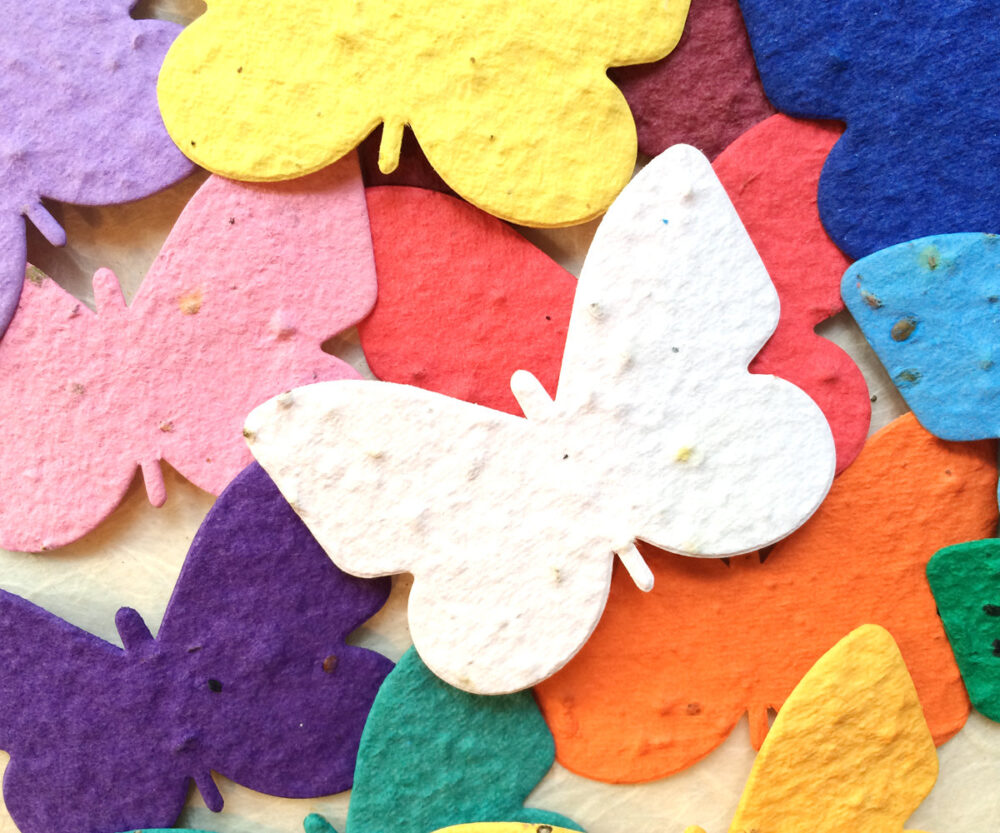 20+ Flower Seed Paper Butterflies Place Cards - Memorials Favor Wedding Favors Plantable