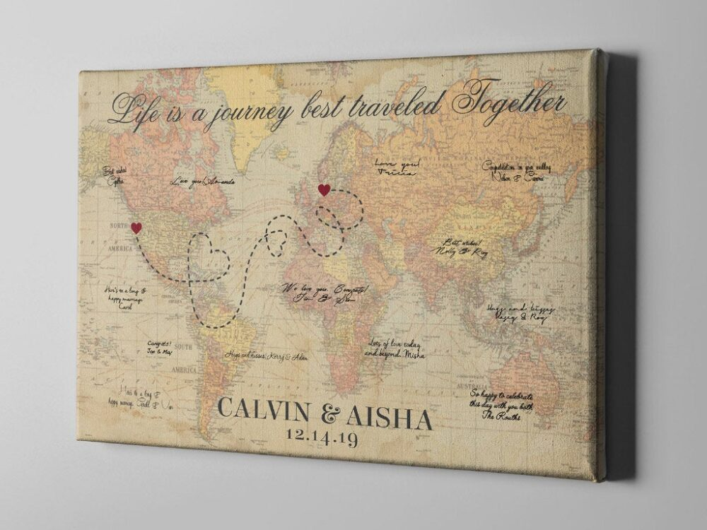 Canvas Guest Book, Vintage World Map Wedding Rustic Destination Wedding, Travel Themed Guestbook - Gb155