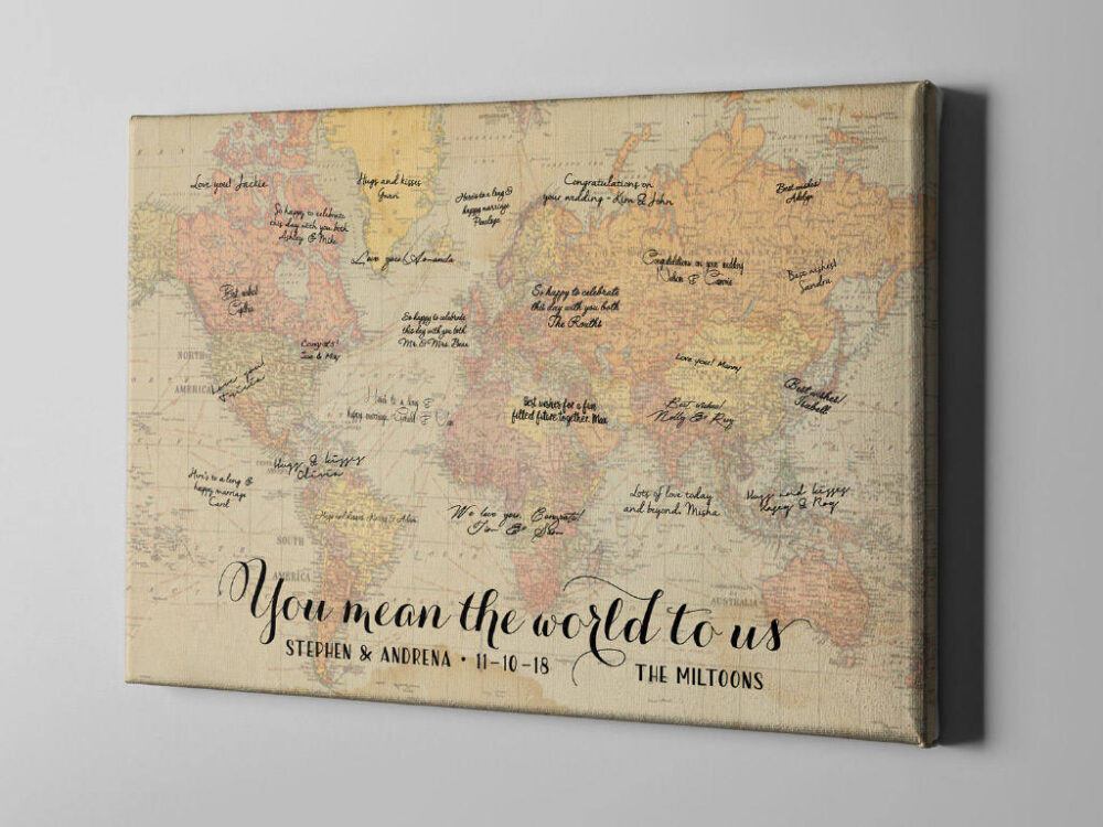 Canvas Guest Book, Unique Wedding Book Ideas, Vintage World Map Destination Wedding, Rustic Signature Guestbook - Cgb152