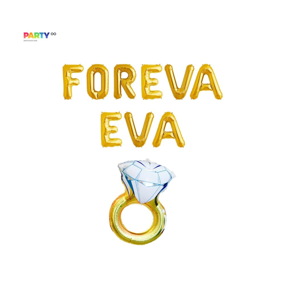 Foreva Eva Engagement Party Decoration Balloon Set | Decor Engaged Letters Ring Balloons