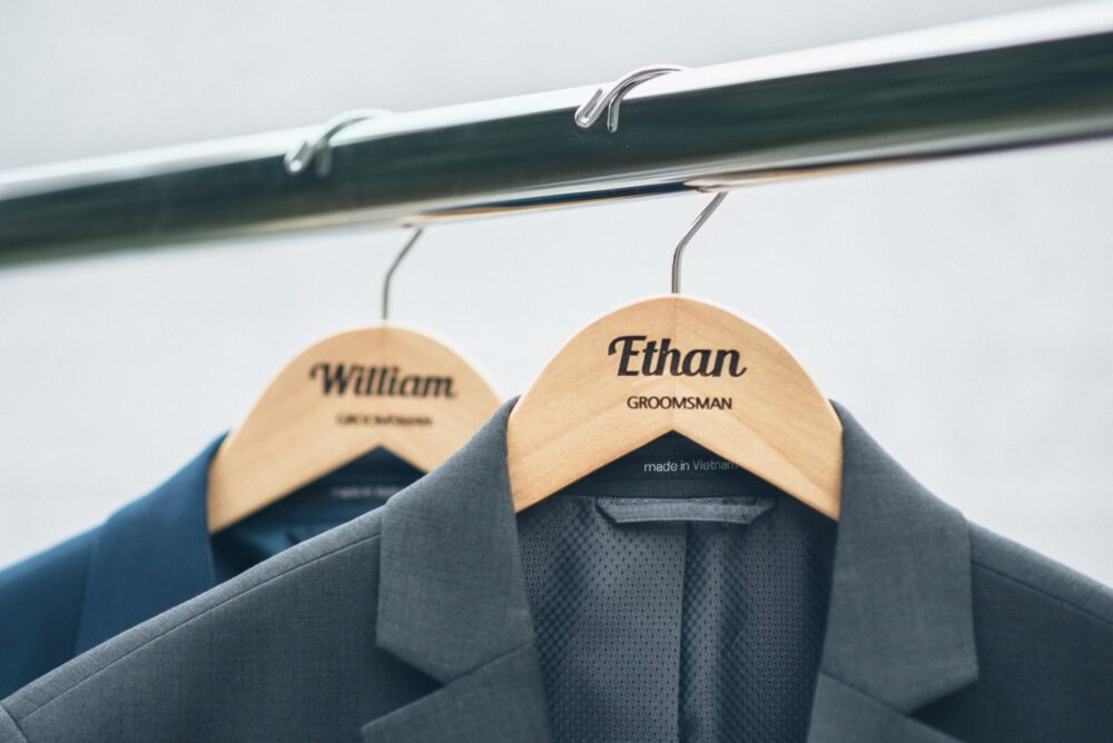 Personalized Groomsman Hangers - Wedding Hanger Wooden Engraved Groom Suit Name