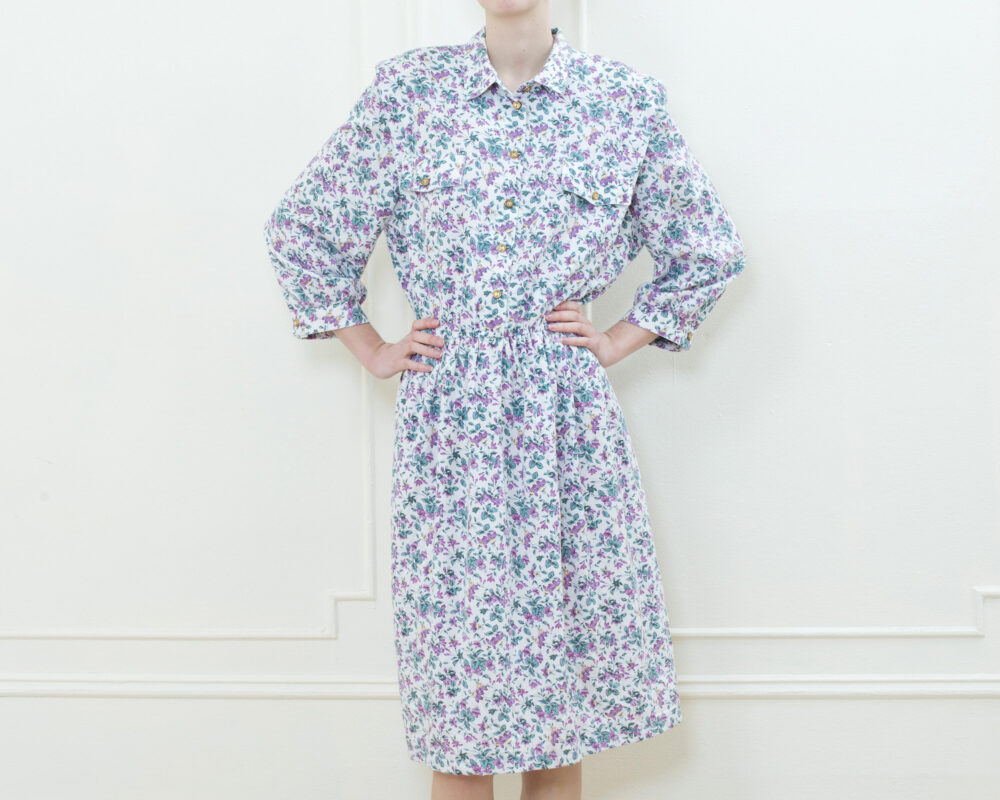 80S Purple Floral Midi Dress Large | Flower Print Button Down Shirt Collared Full Skirt Tea Length Preppy