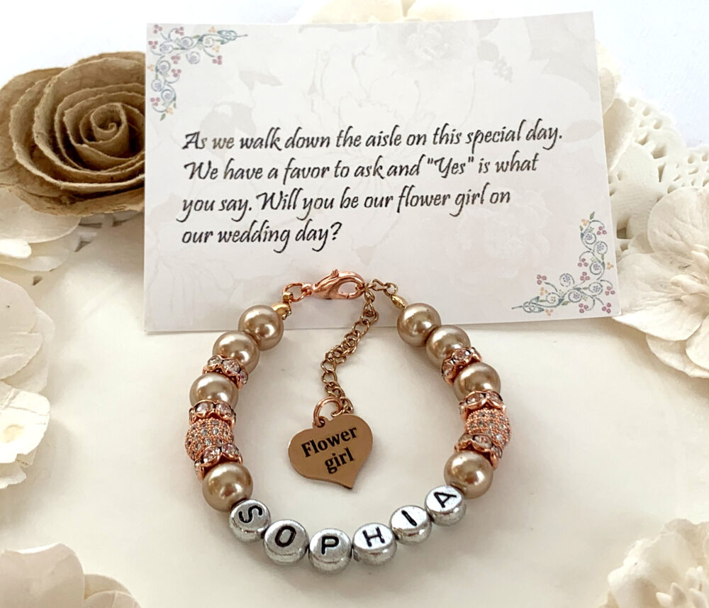 Rose Gold Flower Girl Bracelet, Personalized Jewelry, Flower Gift, Wedding Party Gift, Bridal Gift, Free Shipping in Usa
