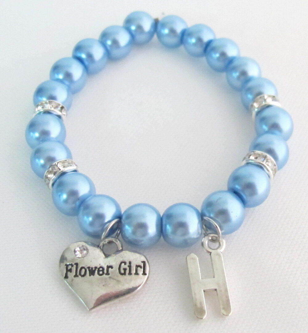 Flower Girl Bracelet Wedding Jewelry Initial Junior Bridesmaid Free Shipping in Usa