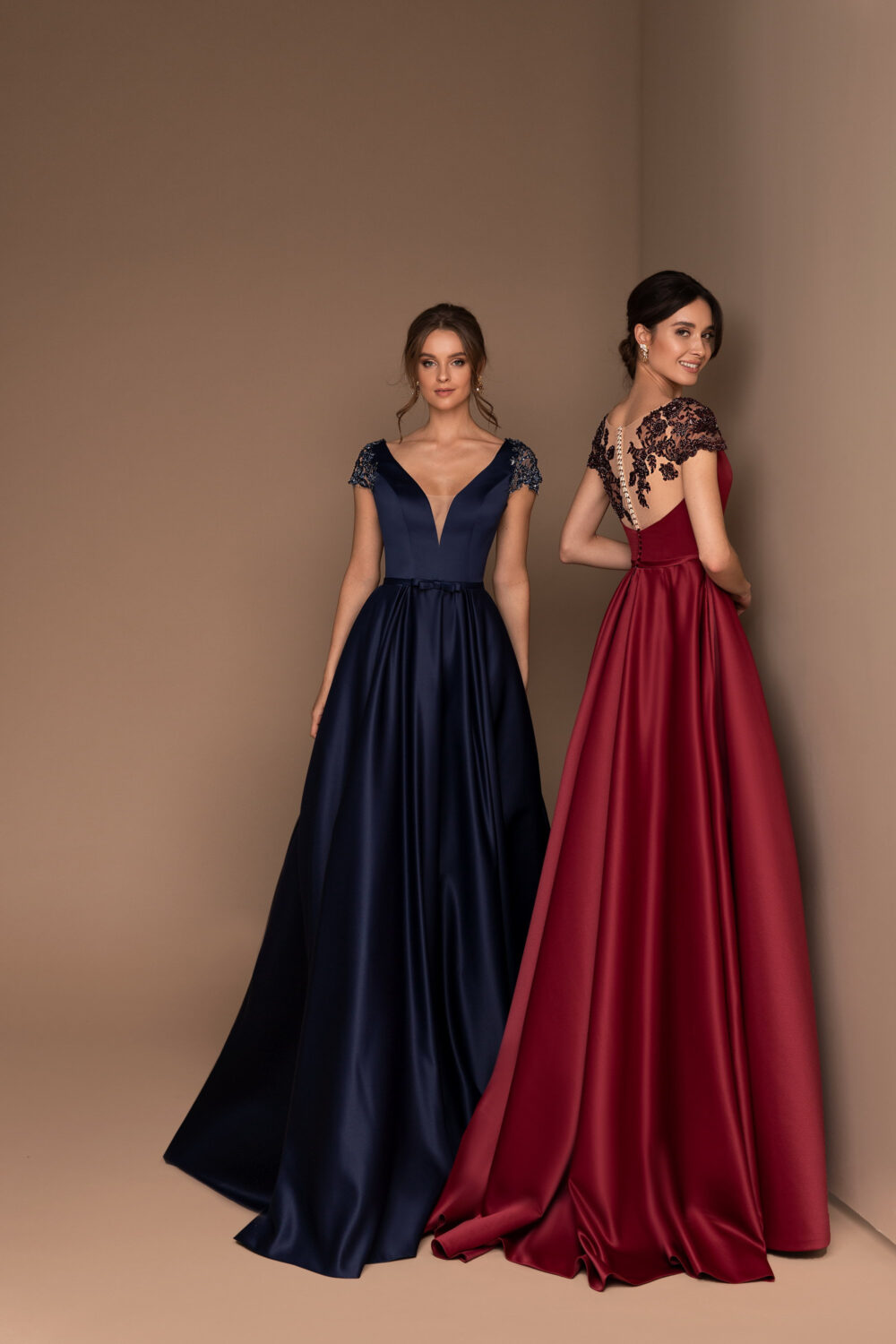 Elegant Evening Dress, Simple Prom Gown, Lace V Neck Bridesmaid Silk A-Line Dresses, Party Wear