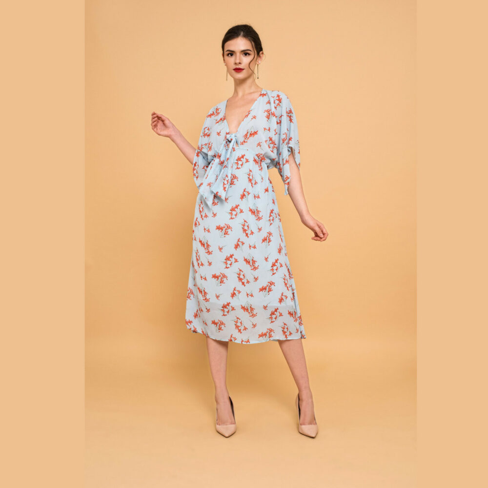 Floral Tie Front A-Line Fit N Flare Midi Dress 2-Way V-Neck Smocking Waist Flutter Sleeve Xs S M L Xl - By The River Collection Women Ella