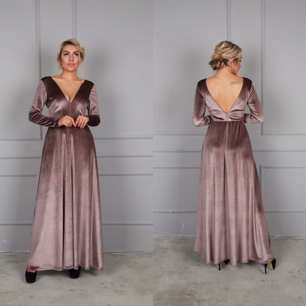 Dark Cappuccino Velvet Dress, V-Neck Party Maxi Bridesmaid Deep Back Gown, A-Line Dress