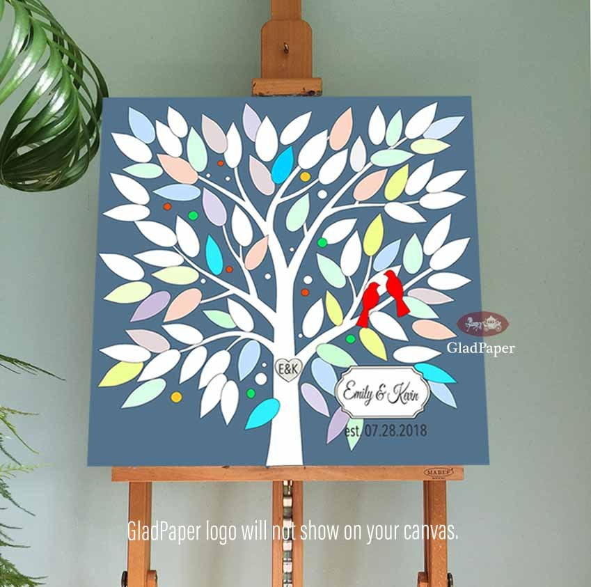 Wedding Guest Book Alternative, Tree Book, Guestbook, Guestbook Personalized Love Birds Canvas