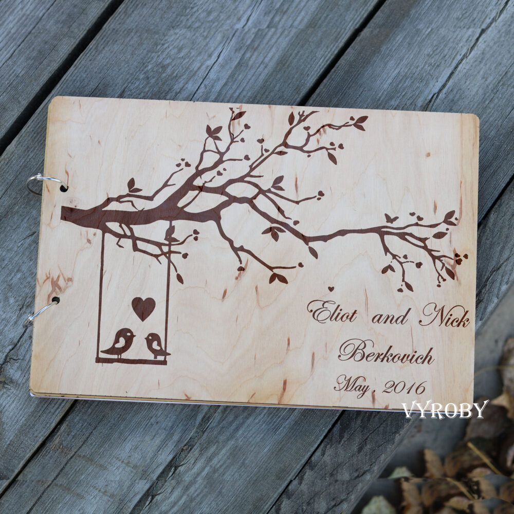 Love Birds Tree Wedding Guest Book Alternative Wooden Album
