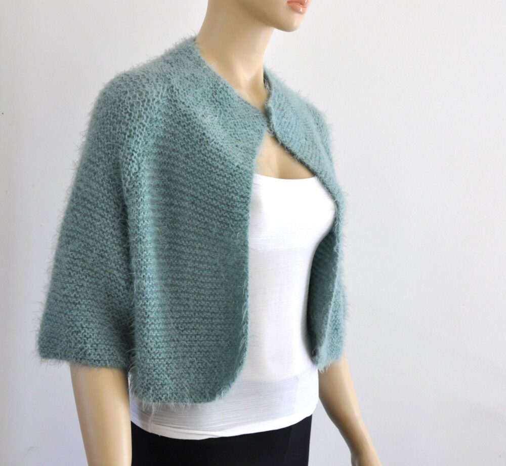 Half Sleeve Wedding Jacket, Green Bridal Bolero, Shrug Cover Up, Hand Knitted