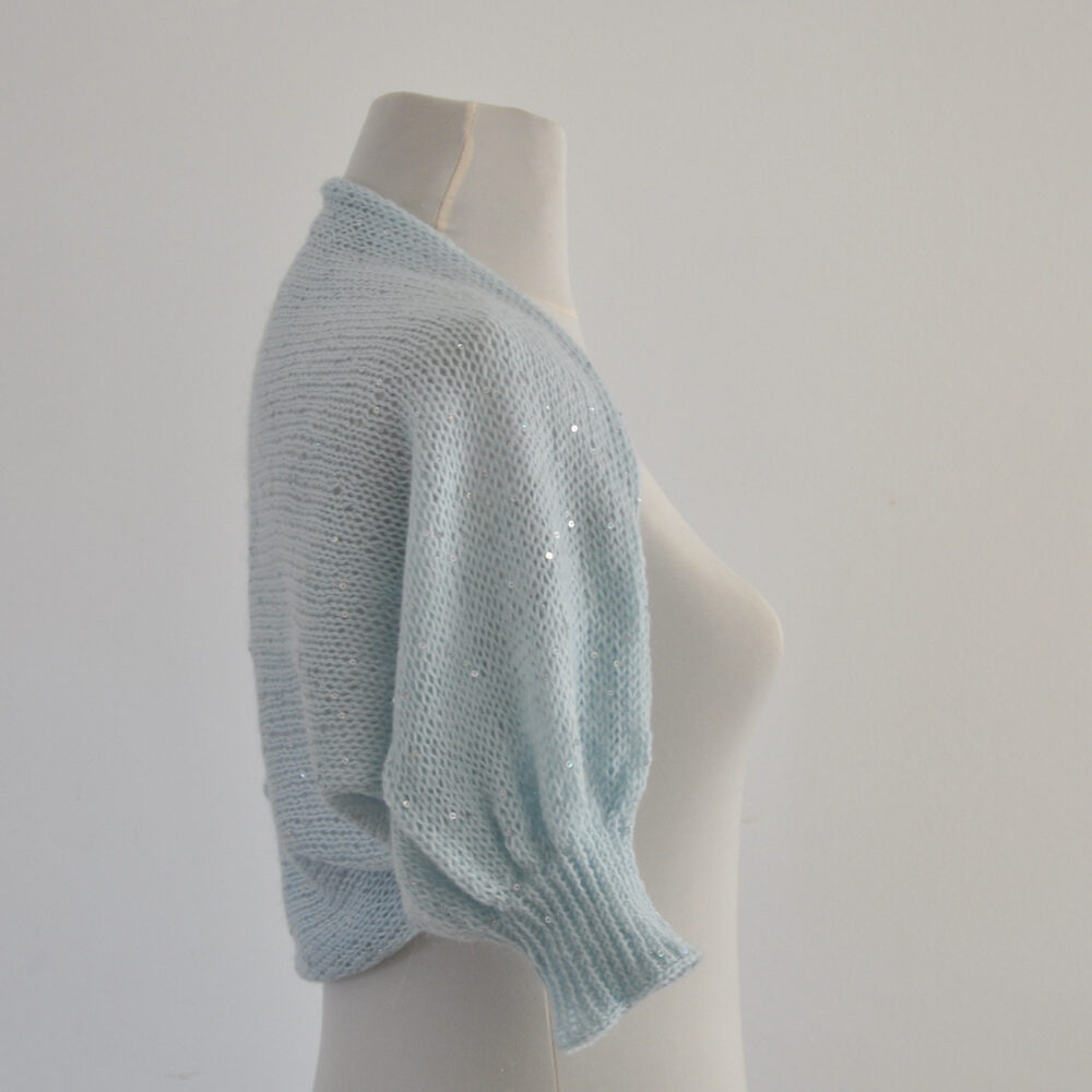 Bridal Shrug Bolero Wedding Jacket Cardigan Mohair With Sequins Baby Blue