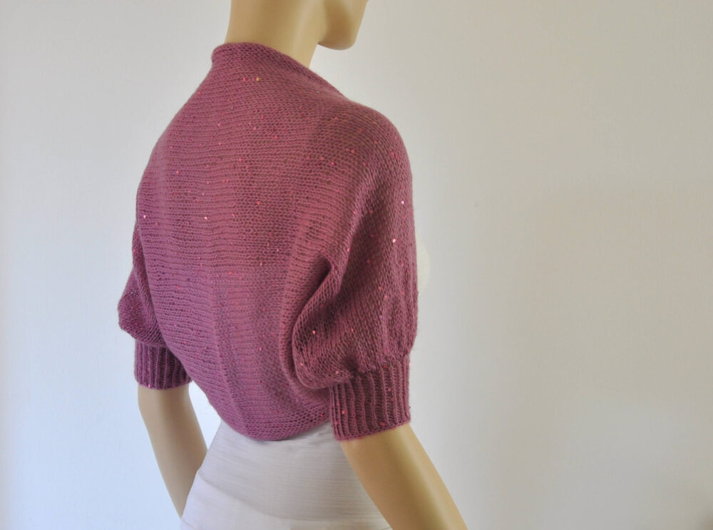 Hand Knitted Bridal Shrug Bolero Wedding Jacket Cardigan Mohair With Sequins Dark Rose