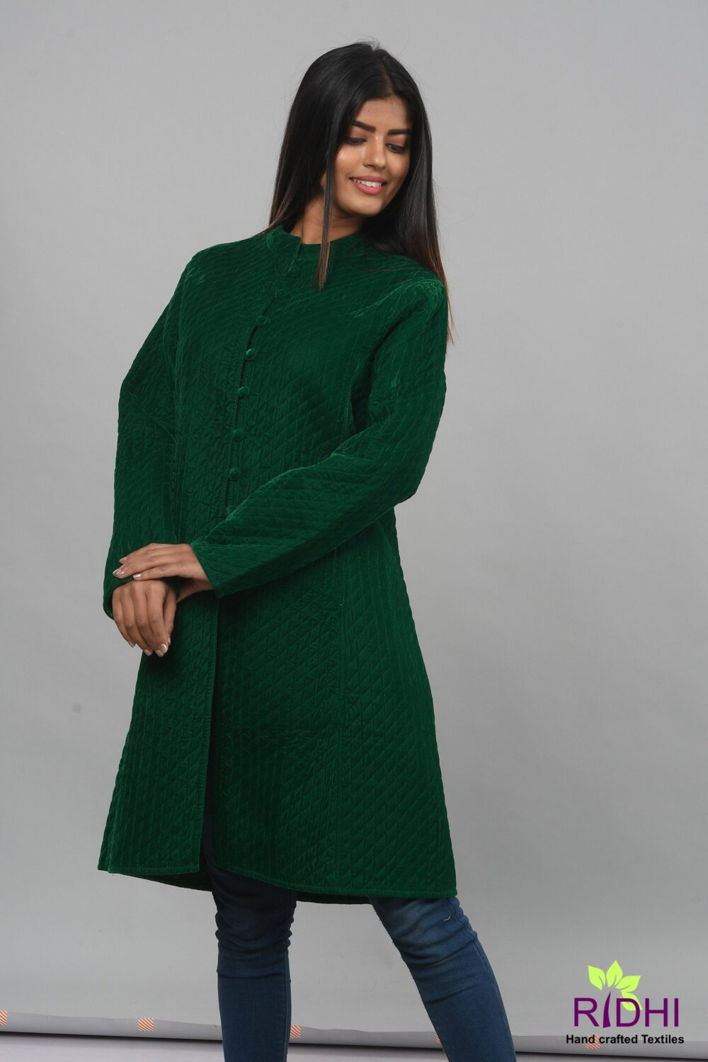 Vintage Green Velvet Quilted Jacket With Pockets, Coat , Green , Buttons Closer Kimono Jacket, Wedding Jackets