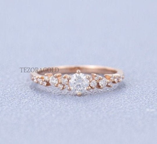 Delicate Moissanite Ring, Round Cut Gold 18K Rose Engagement Diamond Ring For Women, Gift Her, Anniversary